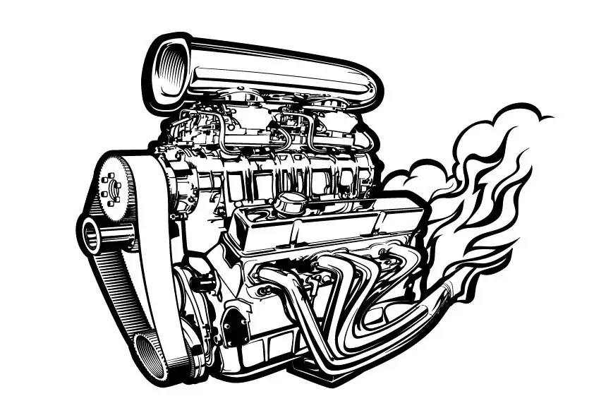 Chevy 572 Supercharged Engine Drawing