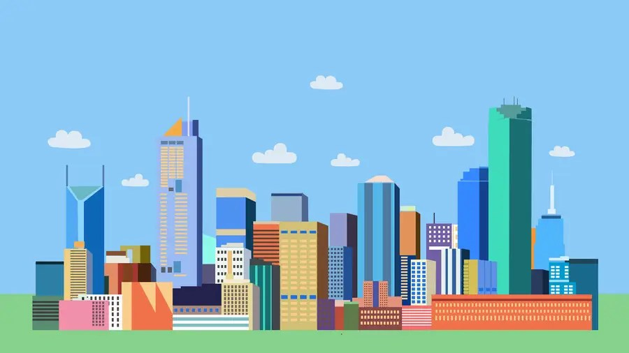 Melbourne City Skyline in Material Design