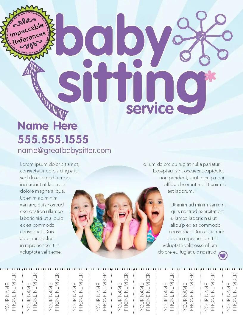 Design A Flyer For Female Babysitter Freelancer