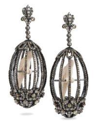 Bochic Diamond and Mammoth-Ivory Birdcage Earrings