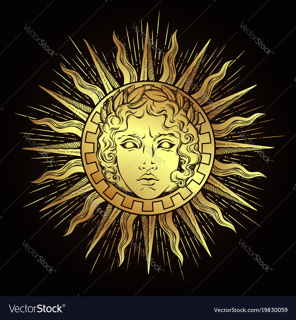 Antique style sun with face of the god apollo Vector Image