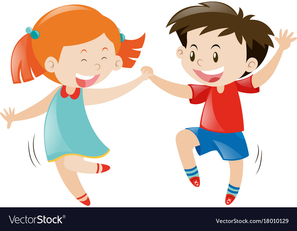 Happy Boy And Girl Dancing Royalty Free Vector Image