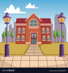 High school building cartoon Royalty Free Vector Image