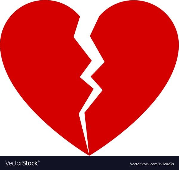 Red Broken Heart Royalty Free Vector - Vectorstock