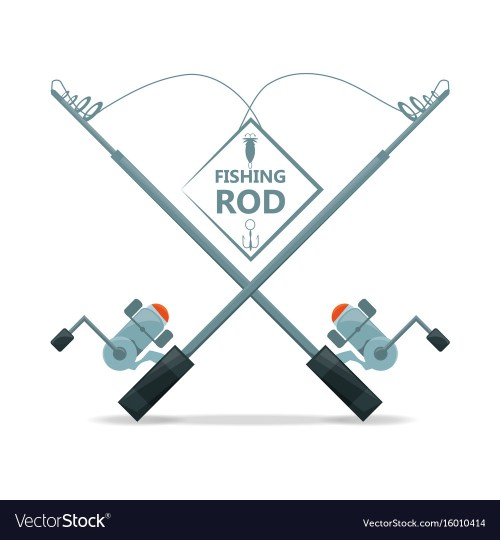 small resolution of fishing rod with reel equipment concept vector image