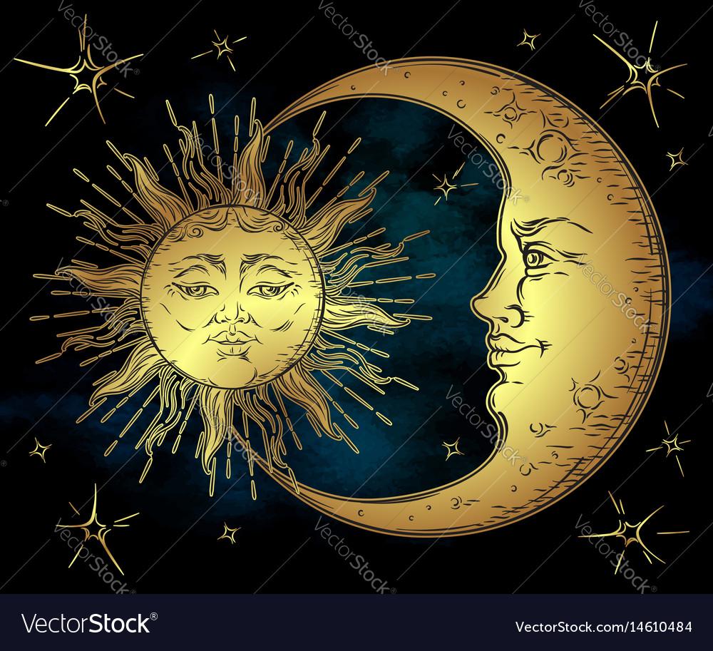 antique style golden sun