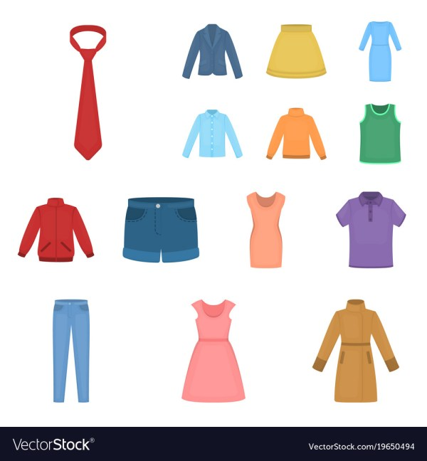 Kinds Of Clothes Cartoon Icons In Set Vector