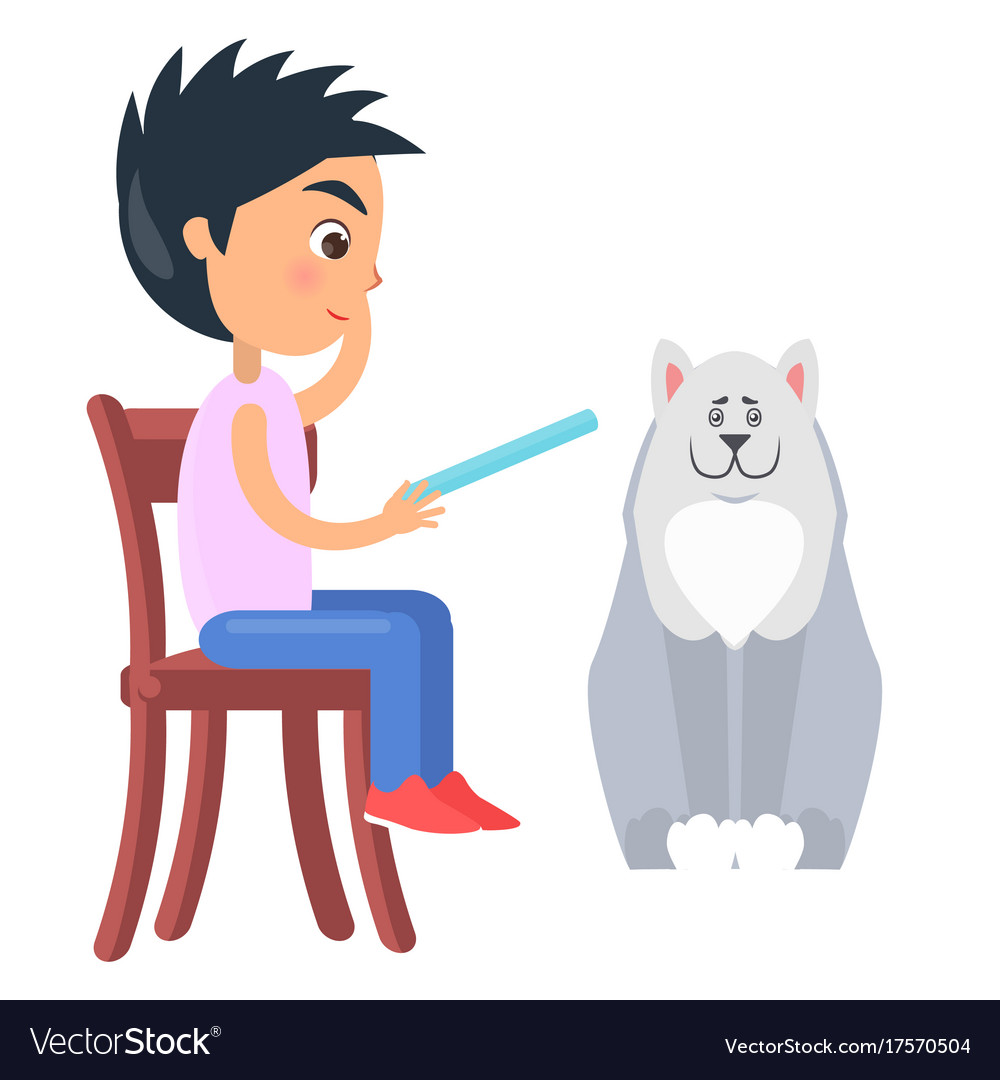 Boys Chair Boy On Chair Reads From Tablet Beside White Dog