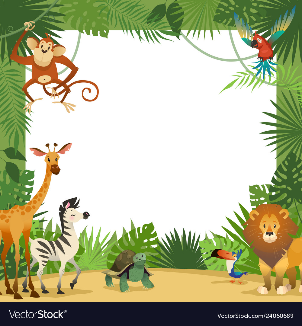 jungle animals card frame