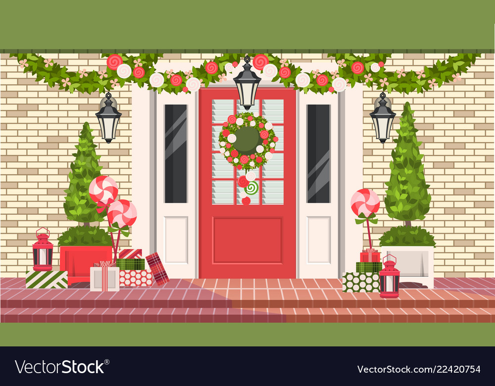 Christmas Decoration Of Entrance Doors Royalty Free Vector