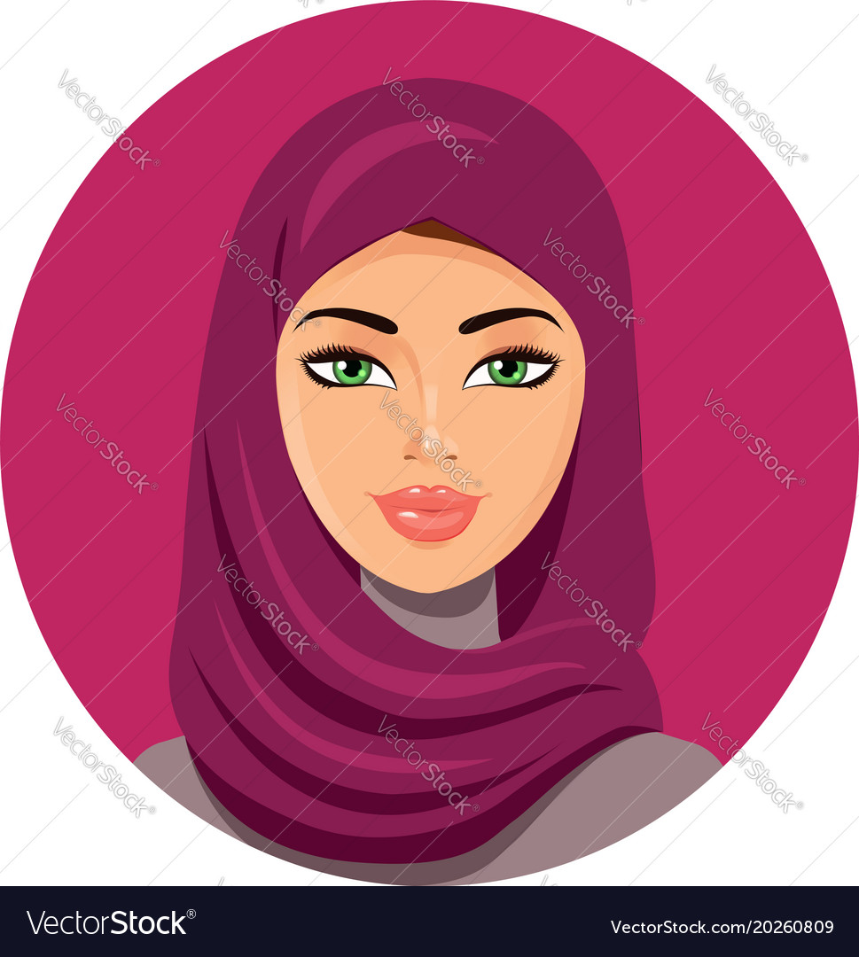 Arabic editable line icons vector set on black background. Arab Muslim Woman On White Background In Hijab Vector Image