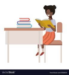 Young student black girl sitting in school desk Vector Image