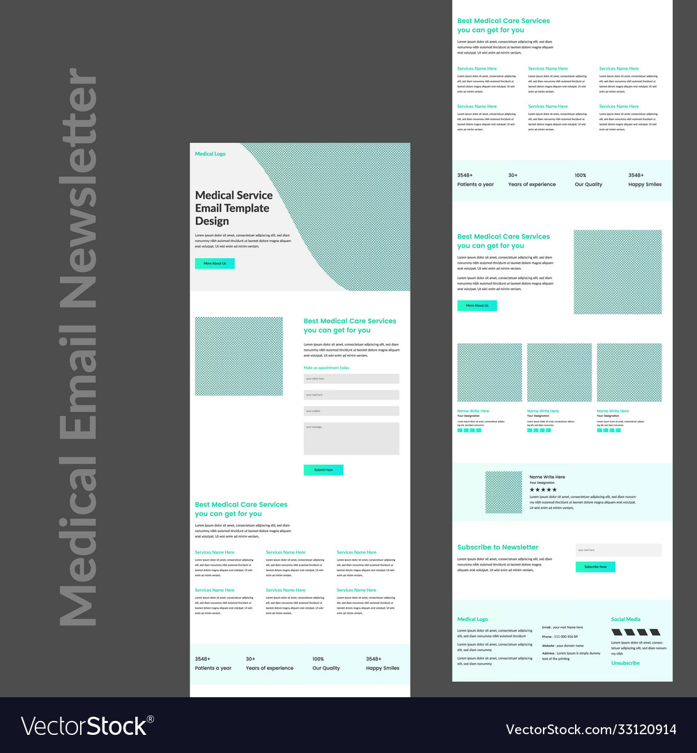 Stripo offers a wide range of free promo newsletter templates. Medical Services Promotional Email Template Vector Image