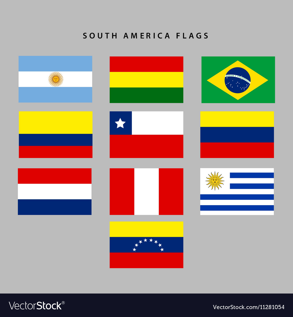 South America Flags Royalty Free Vector Image Vectorstock