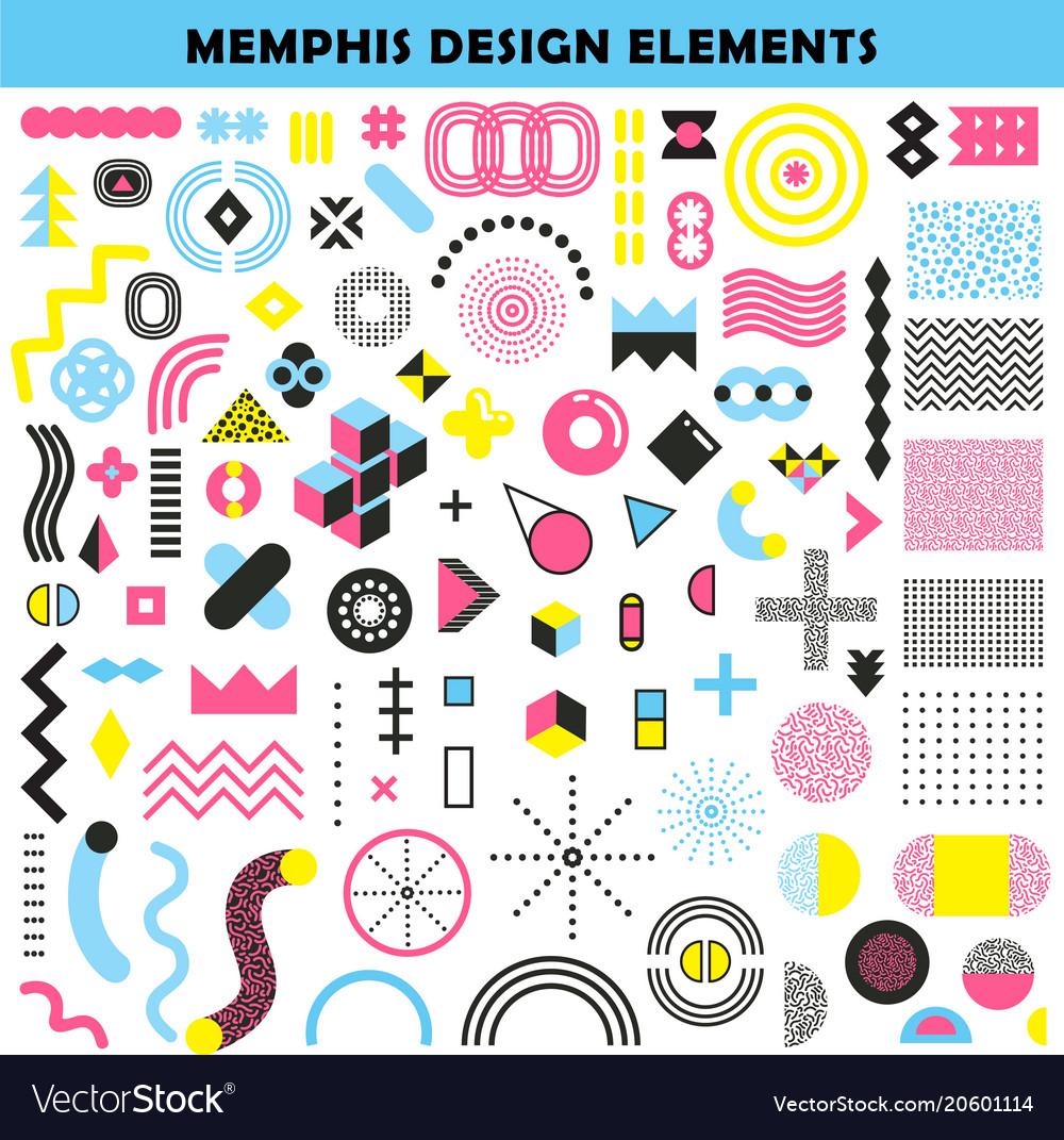 memphis design elements set