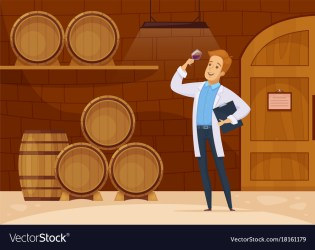 cellar cartoon wine vector winery storage poster production illustration flat isometric factory line royalty interior