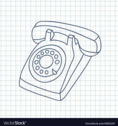 hand drawn old telephone vector image [ 990 x 1080 Pixel ]