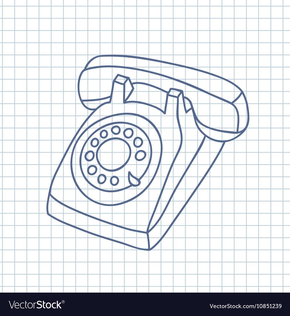 medium resolution of hand drawn old telephone vector image