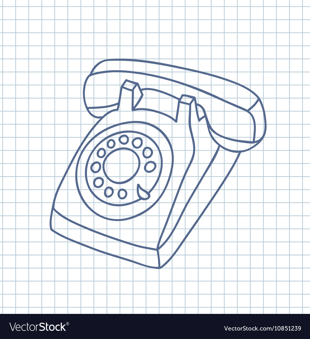 hight resolution of hand drawn old telephone vector image
