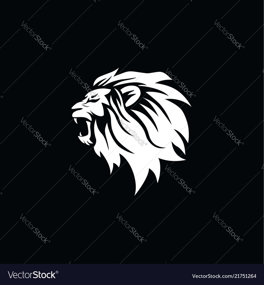 angry roaring lion head