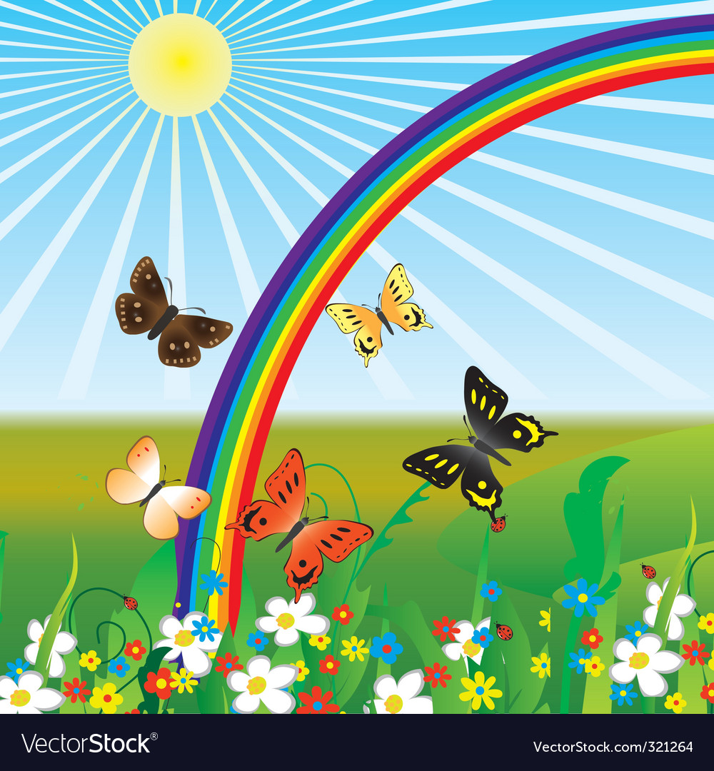 Cute Bees Wallpaper Rainbow And Butterflies Royalty Free Vector Image
