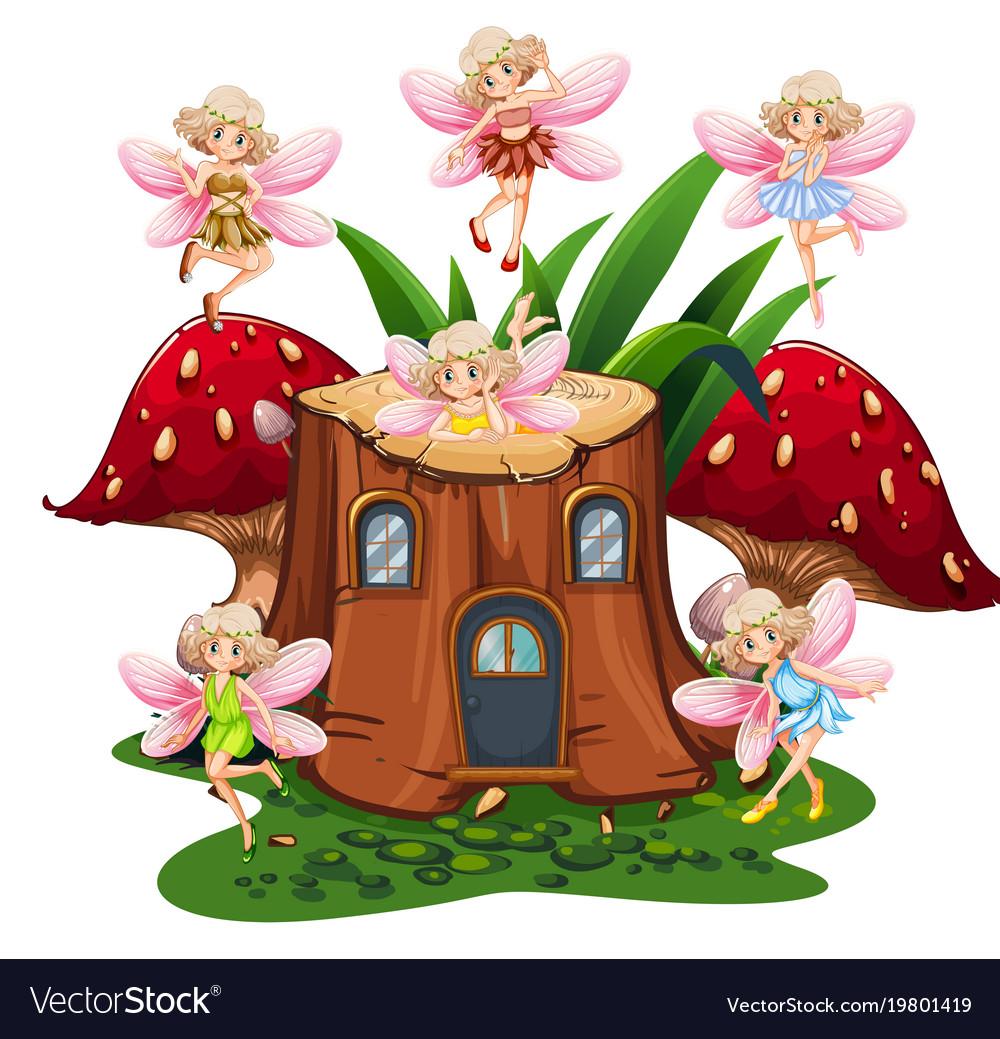 Six Fairies Flying Around Log Home In Garden Vector Image