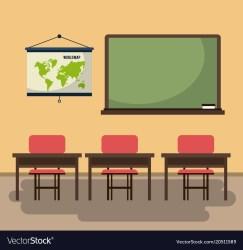 Empty classroom cartoon Royalty Free Vector Image