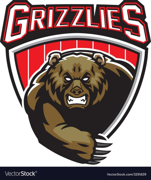 small resolution of grizzly bear mascot vector image