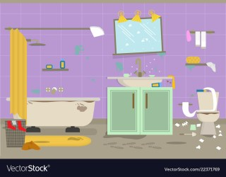 Cartoon dirty organized bathroom for cleaning room