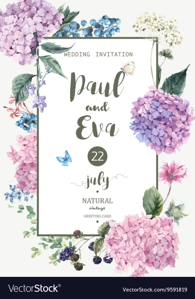 Wedding Invitation With Hydrangea