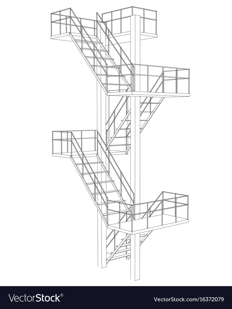 hight resolution of stair on white background vector image