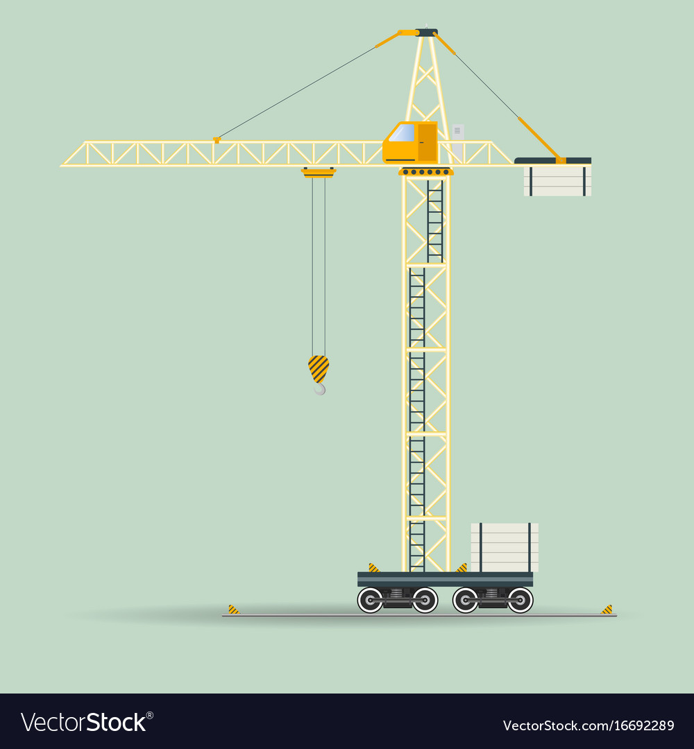 hight resolution of construction tower crane vector image