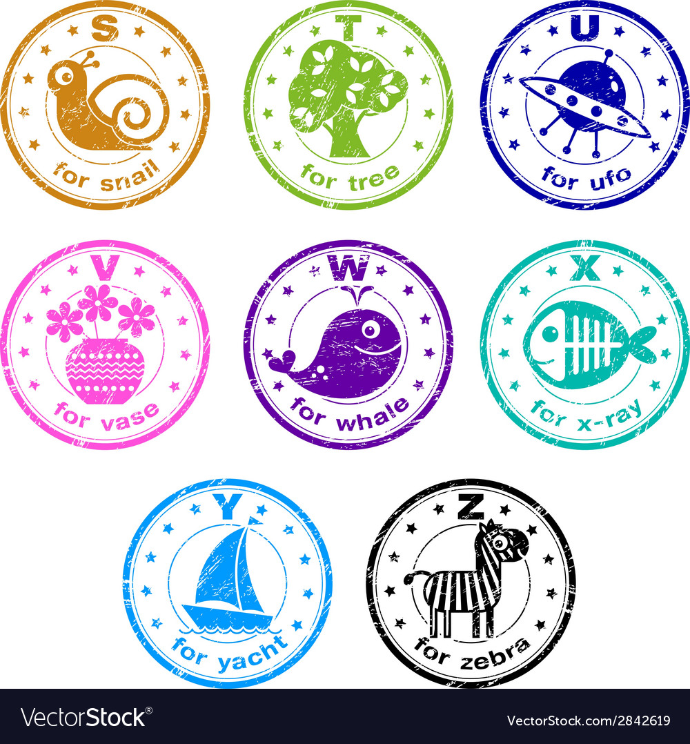 cute abc stamps vector