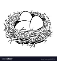 Nest with golden egg coloring Royalty Free Vector Image