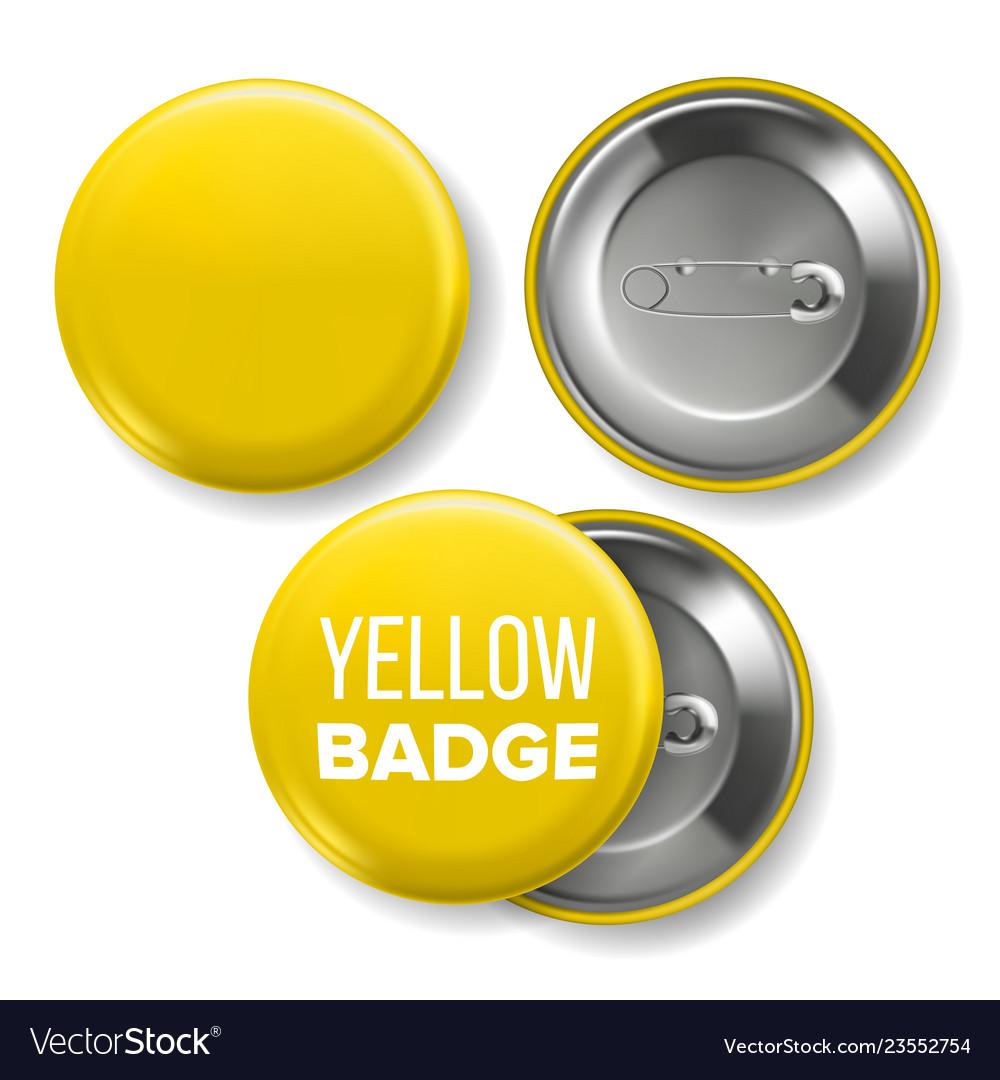 Free lanyard id badge mockup. Yellow Badge Mockup Pin Brooch Yellow Royalty Free Vector