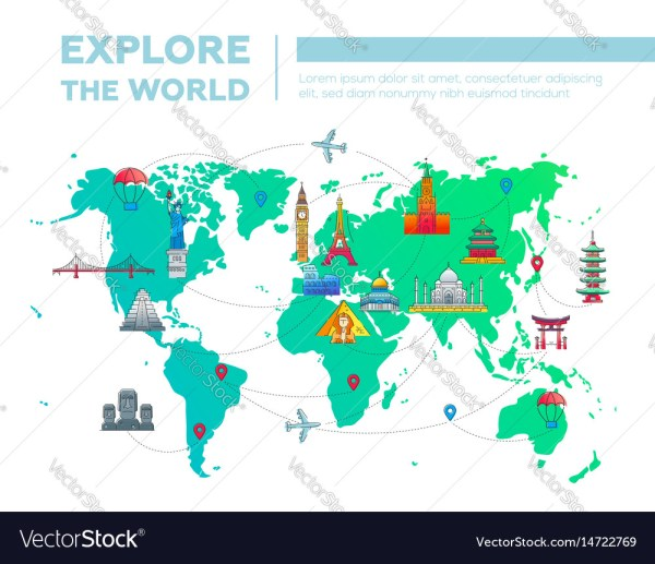 Explore the world map with famous landmarks Vector Image