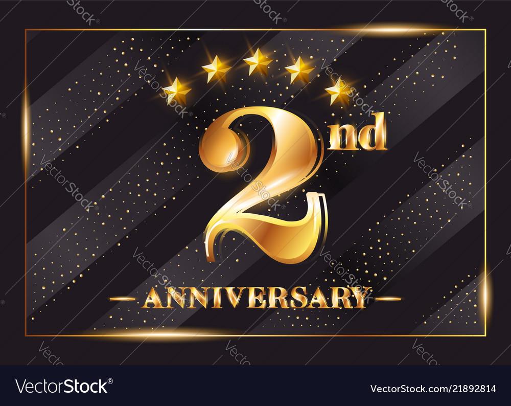 2 Year Anniversary Celebration Logo 2nd Royalty Free Vector