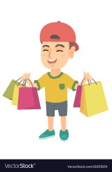 shopping boy holding happy bags caucasian vector