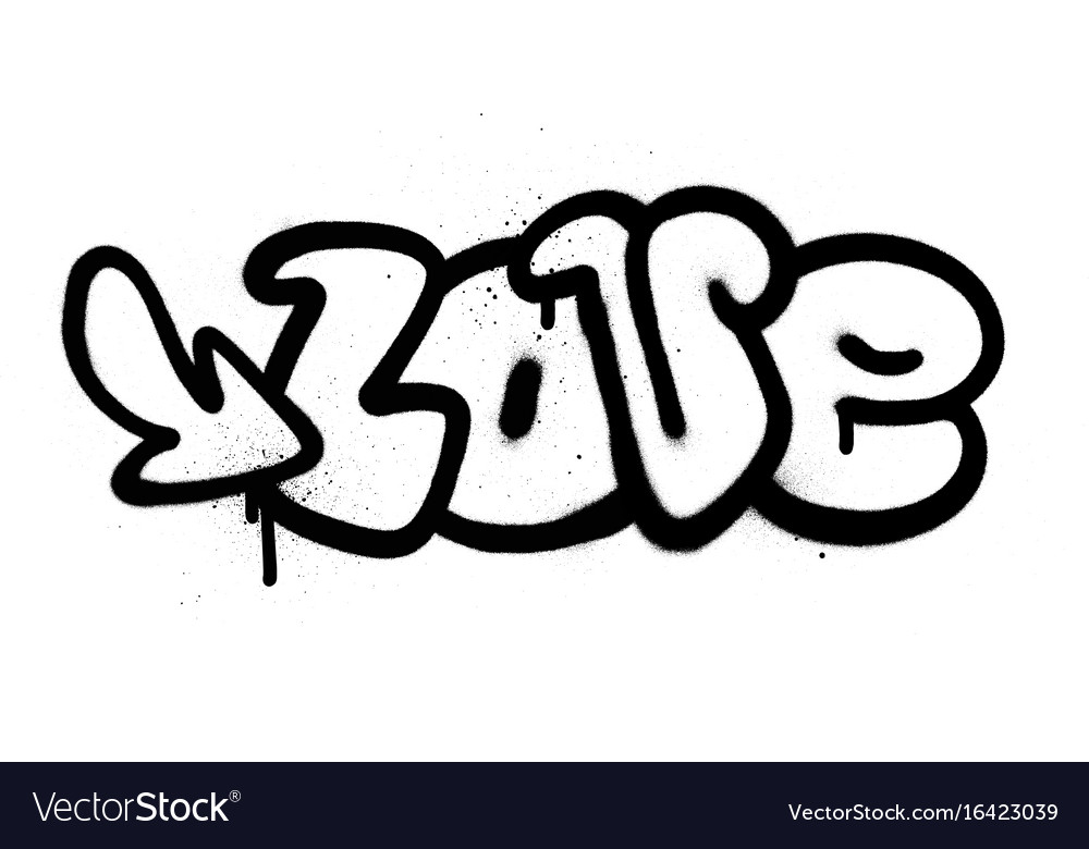 Download Graffiti love word in black over white Royalty Free Vector