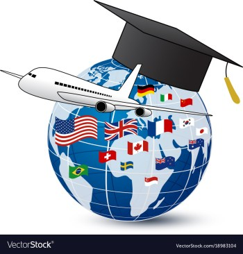 a plane and a world globe with a graduation cap on it