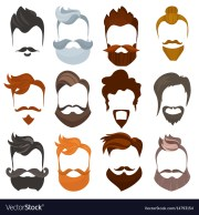 set of men cartoon hairstyles