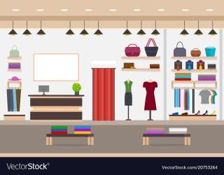 Cartoon fashion shop interior with furniture card Vector Image