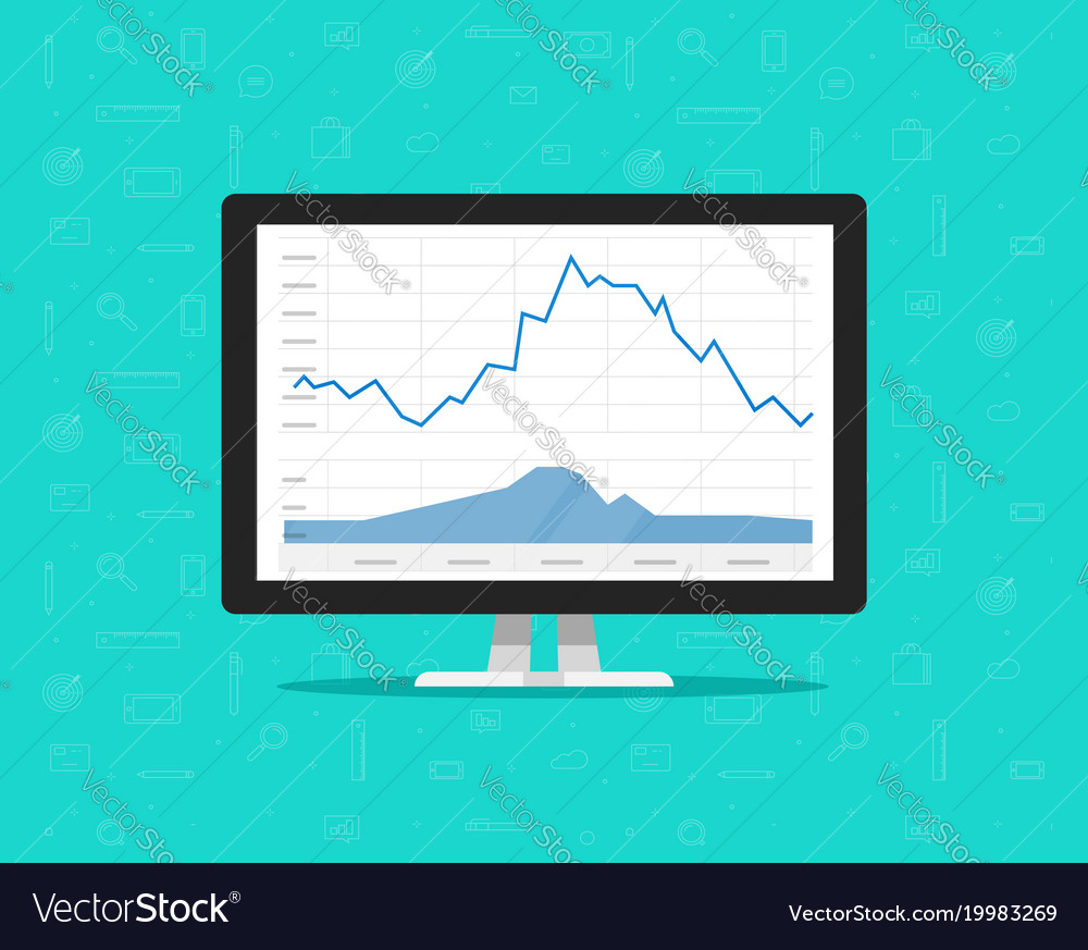 computer with stocks graphs