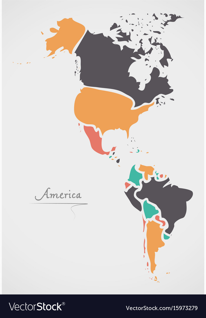 america continent map with