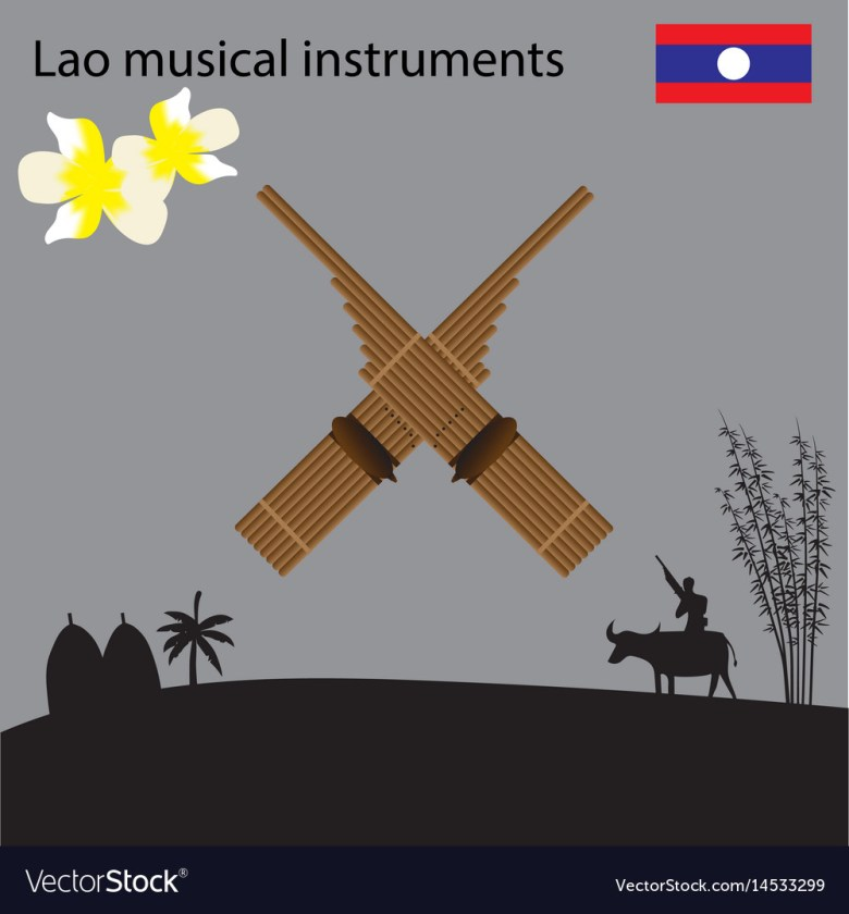 laos national musical instrument national flower vector image
