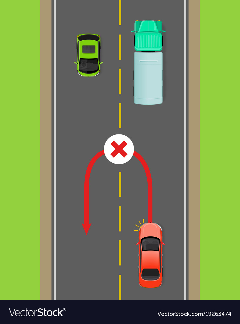 hight resolution of banned car u turn flat diagram vector image