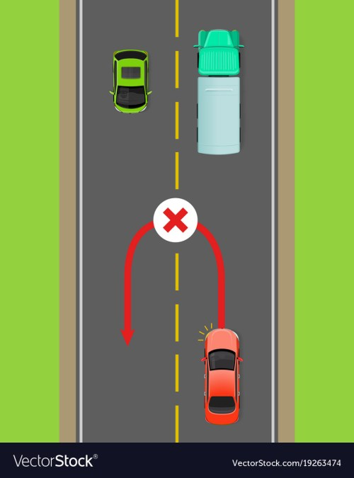 small resolution of banned car u turn flat diagram vector image