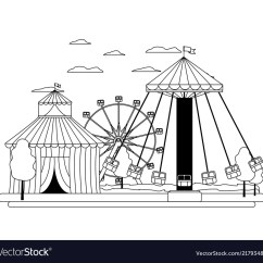 Swing Chair Drawing Hickory Tufted Leather Sofa Line Circus And Mechanical Carnival Vector Image