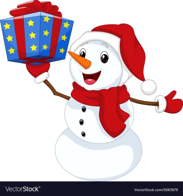 Cute Cartoon Snowman With Royalty Free Vector
