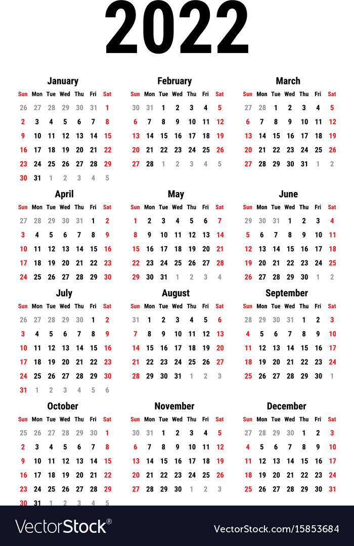 Calendar for 2022 Royalty Free Vector Image - VectorStock